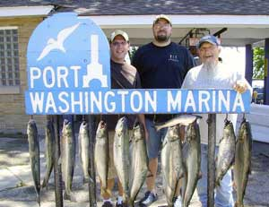 Port Washington Marina sign and fishermen with Cast-A-Way Charters, Summer Fishing Photo Gallery